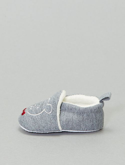 Chaussons broderie 'ours'                                                                 anthracite