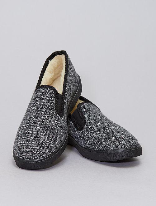 Chaussons charentaises fourrés en laine                             gris
