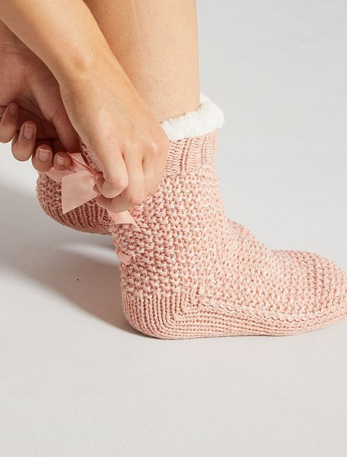 Chaussons chaussette en grosse maille                     rose