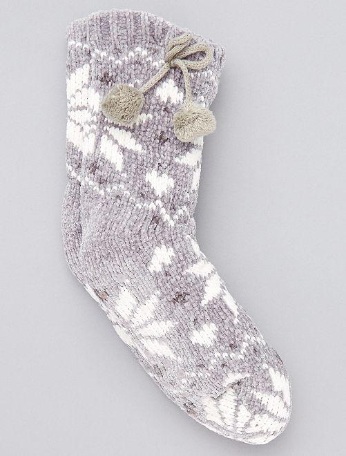 Chaussons chaussette fourrés                                                                 gris clair