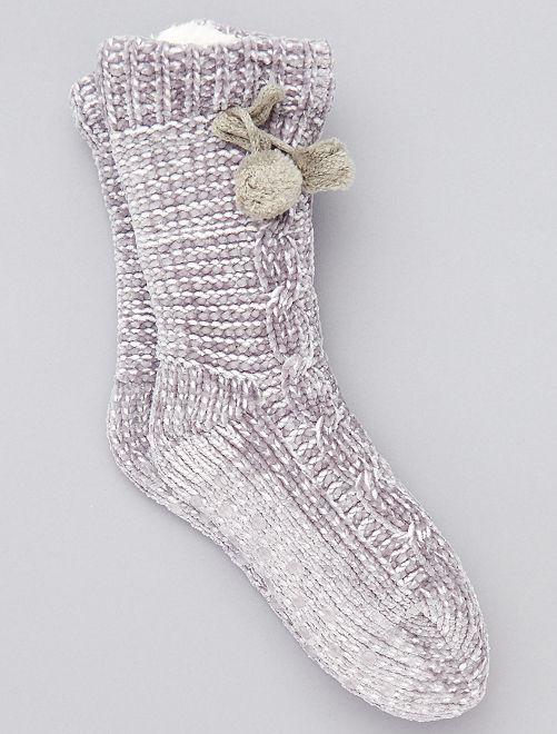 Chaussons chaussette fourrés                                                                 gris