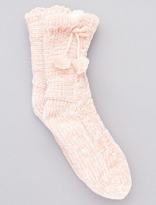 Chaussons chaussette fourrés                                                                 ROSE