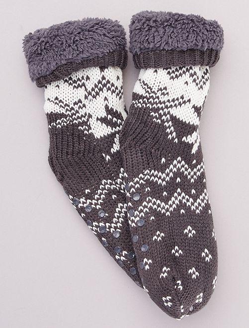 Chaussons chaussettes en grosse maille                                         gris