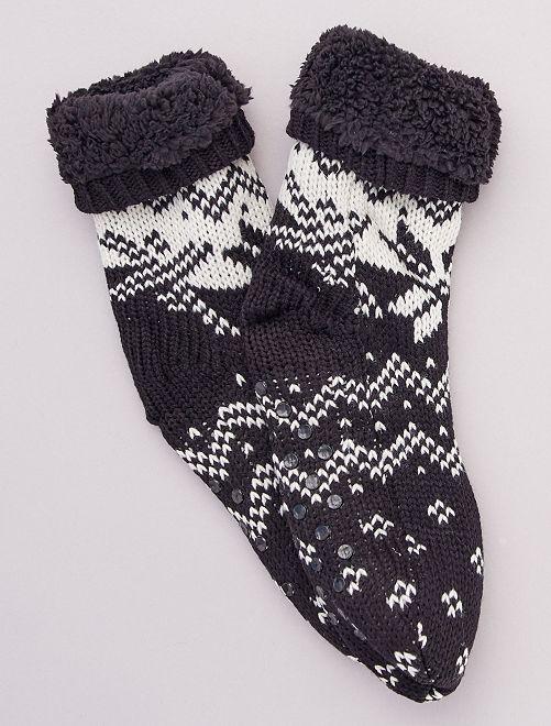 Chaussons chaussettes en grosse maille                                 noir