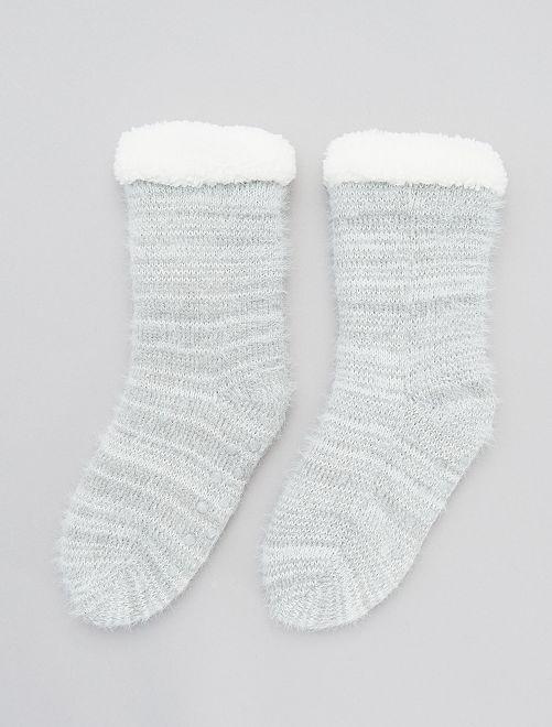 Chaussons chaussettes en maille                                                                 gris