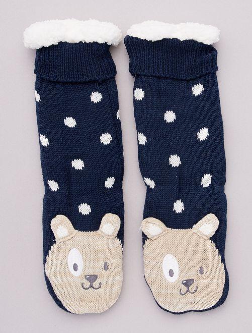 Chaussons chaussettes en maille peluche animaux                                                     bleu
