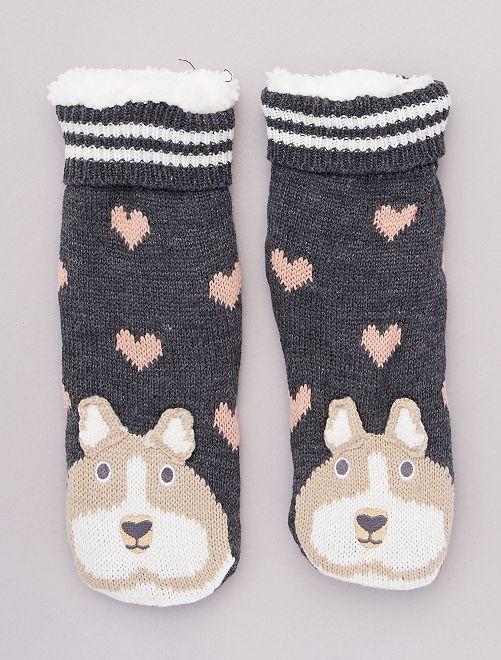 Chaussons chaussettes en maille peluche animaux                                                     coeur