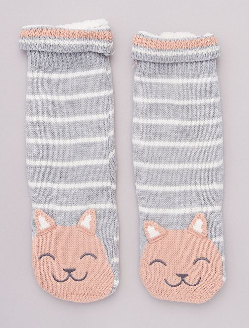 Chaussons chaussettes en maille peluche animaux                     rayures