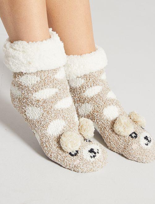 Chaussons chaussettes en maille peluche                                 beige