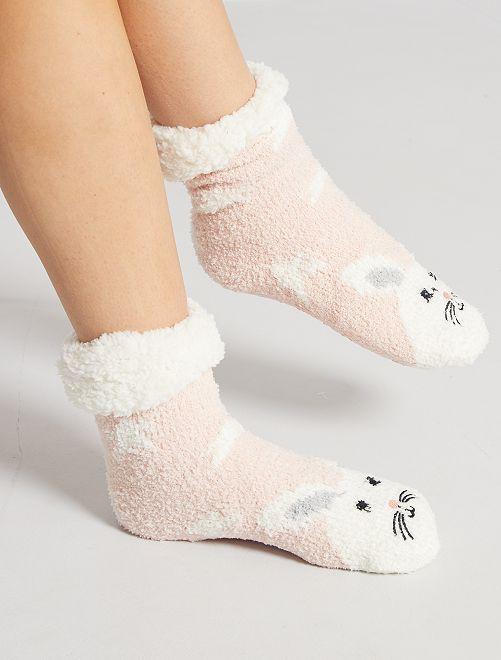 Chaussons chaussettes en maille peluche                                                     rose
