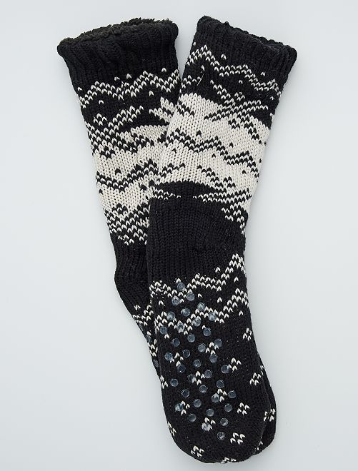 Chaussons chaussettes fourrés                                 noir