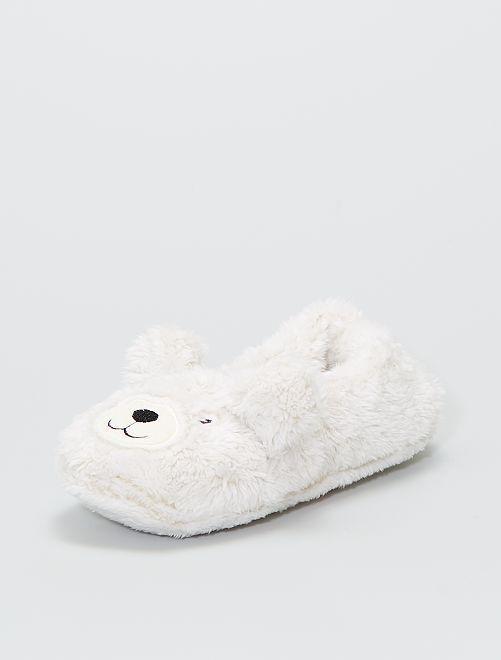 Chaussons en maille peluche                     blanc
