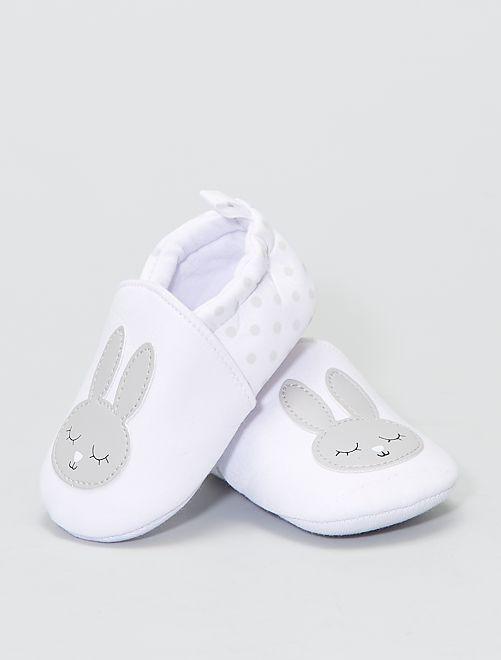 Chaussons en tissu 'lapin'                             blanc