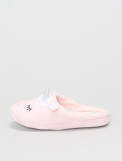 Chaussons forme mules 'licornes'                     rose