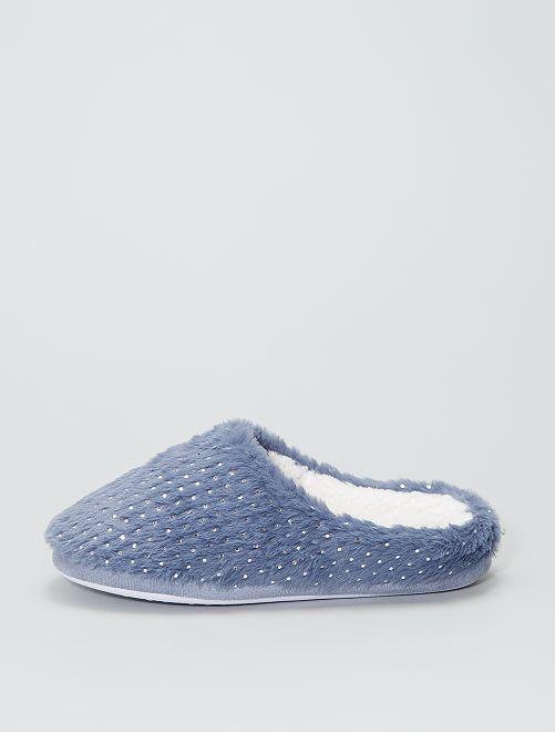 Chaussons forme mules pailletés                                         bleu navy