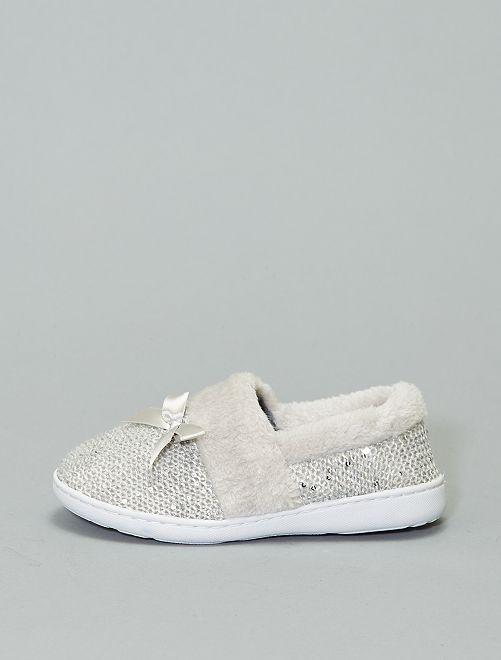 Chaussons fourrés en maille tricot                                         gris Chaussures