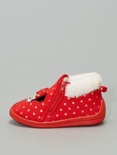 Chaussons fourrés 'Minnie'                             rouge