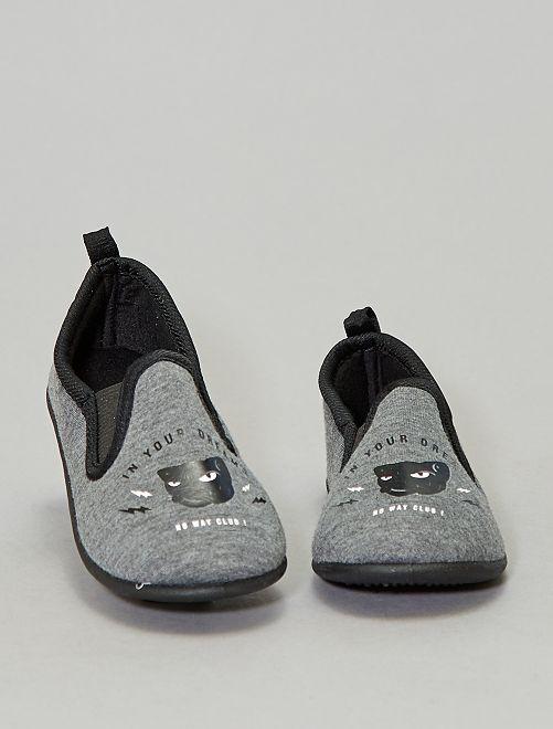 Chaussons imprimés 'panthère'                             gris