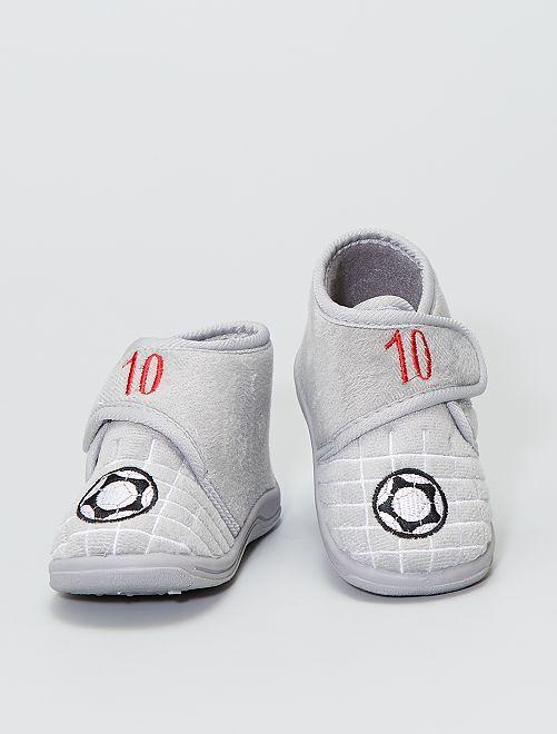 Chaussons montant en velours 'foot'                             gris
