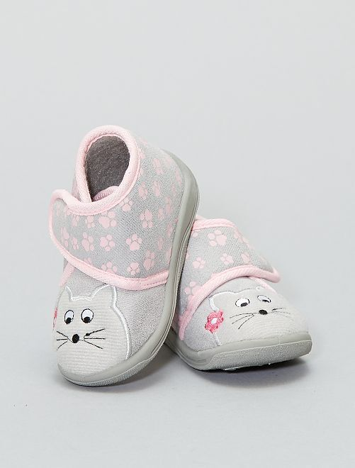 Chaussons montants 'chat'                                         gris