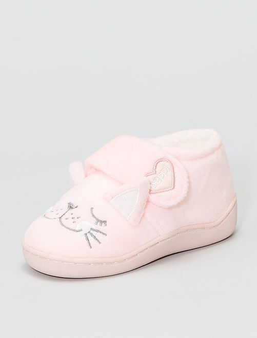 Chaussons montants 'chat'                             rose