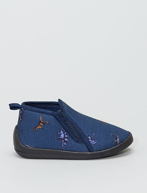 Chaussons montants 'dinosaures'                             bleu navy