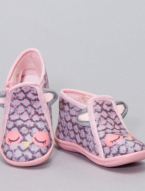 Chaussons montants 'hibou'                                         gris/rose