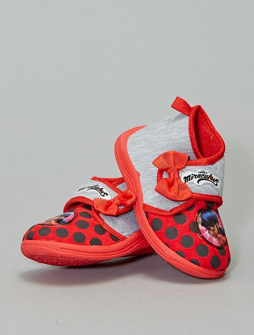 Chaussons montants 'Miraculous Lady Bug'                             gris Fille