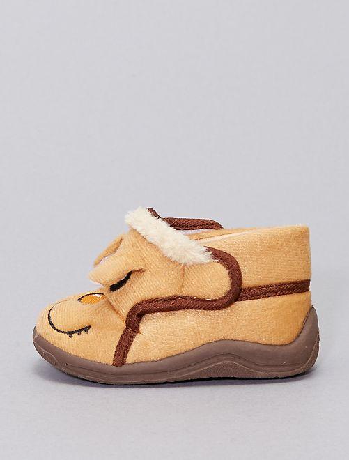 Chaussons montants 'tête d'animaux'                                         brun