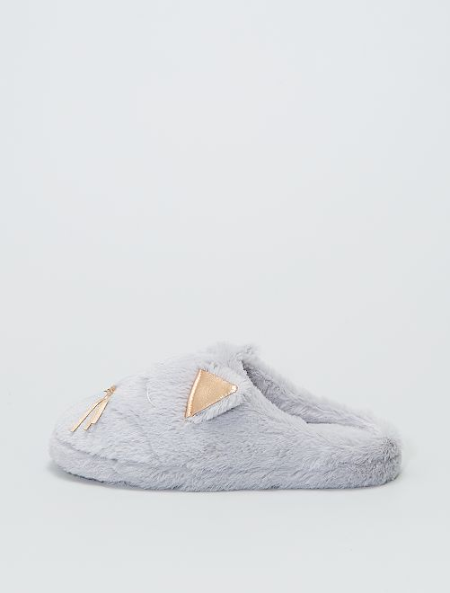 Chaussons mules 'chat'                                         gris