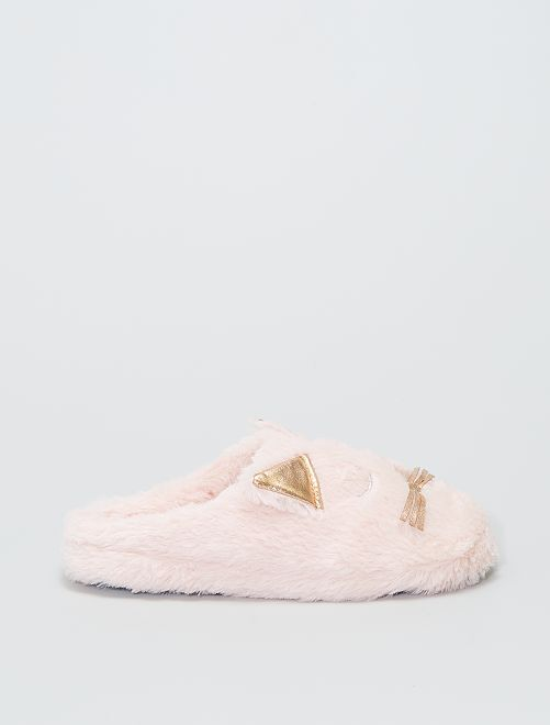 Chaussons mules 'chat'                                         rose