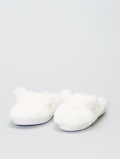 Chaussons mules en maille peluche                             blanc