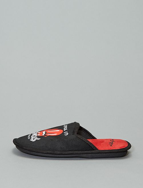 Chaussons mules 'The Rolling Stones'                                         noir/rouge