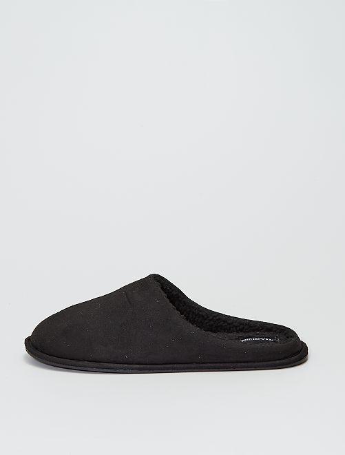Chaussons mules type suédine                                         noir