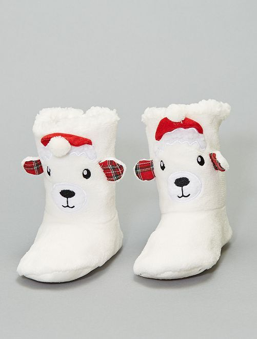 Chaussons Noël                                         blanc ours