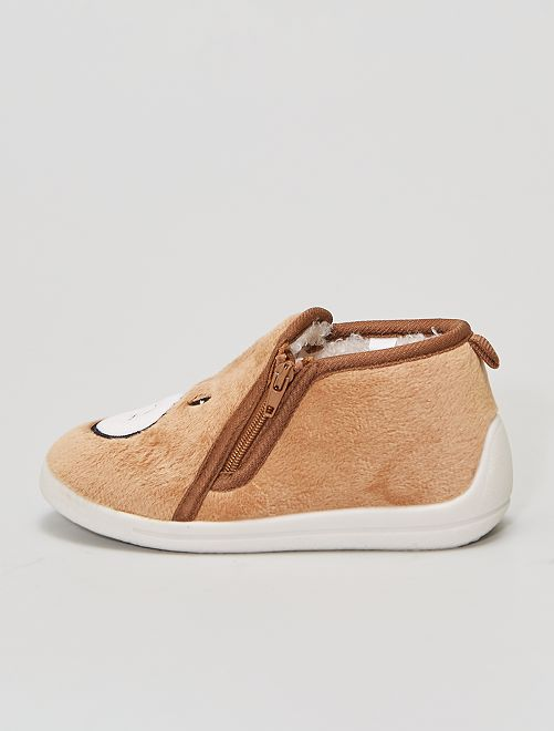 Chaussons 'ourson'                             brun