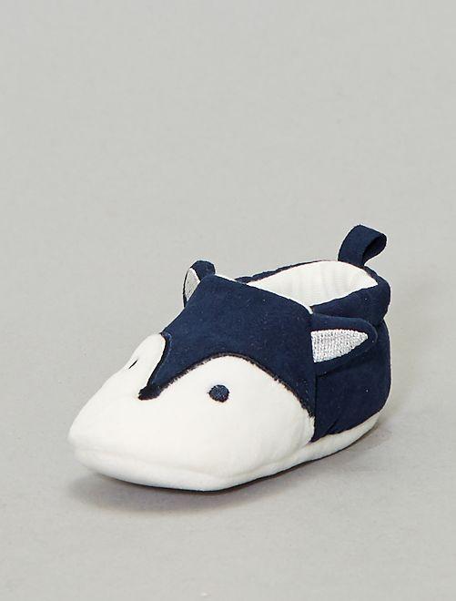 Chaussons 'renard'                                         bleu marine Bébé garçon