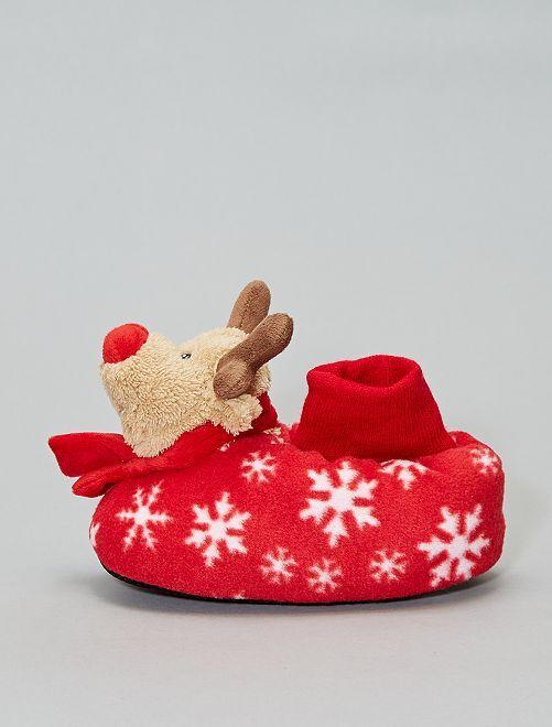 Chaussons 'Rennes de Noël'                             rouge
