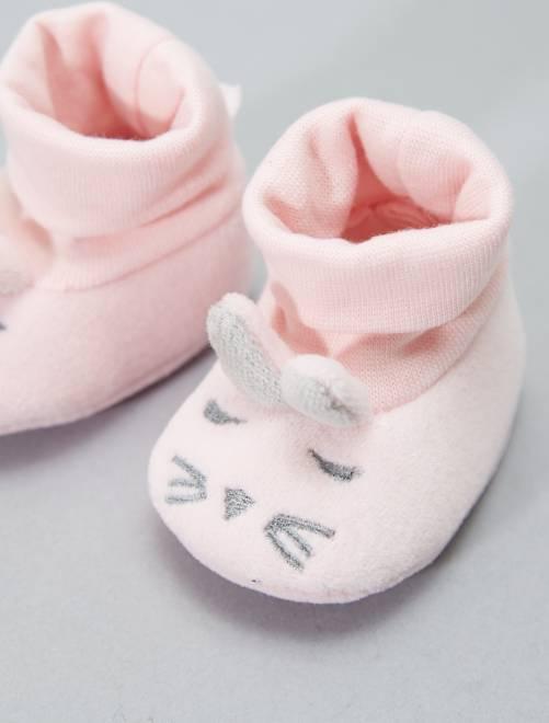 Chaussons têtes de lapins Bébé fille - rose pâle - Kiabi - 3,00€ df321854979