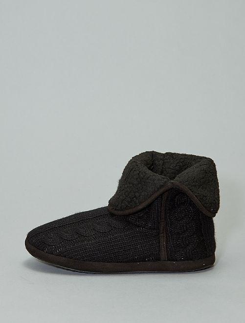 Chaussons tricot torsadés                                         noir Homme