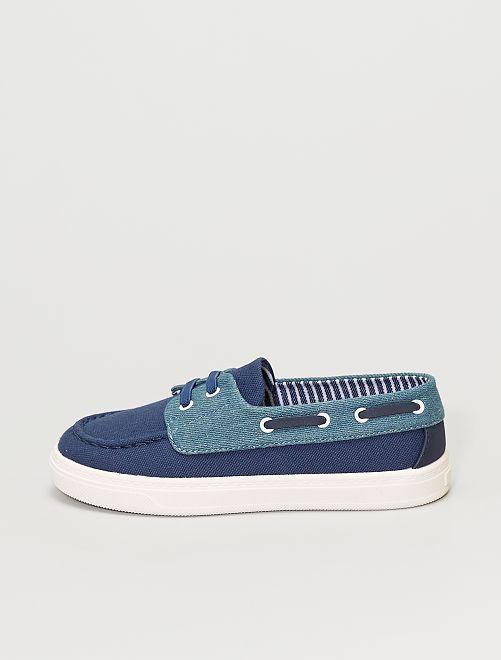 Chaussures bateau en toile                             bleu navy
