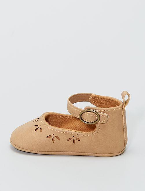 Chaussures en suédine à scratchs                             beige