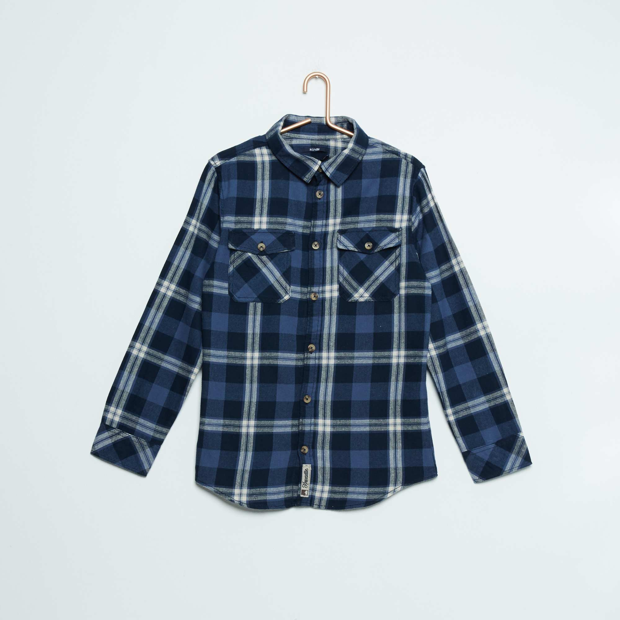 chemise 100 coton gar on adolescent carreaux bleu kiabi 7 50. Black Bedroom Furniture Sets. Home Design Ideas