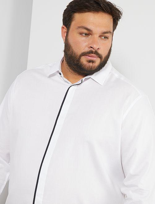 Chemise à bande contrastante                             blanc