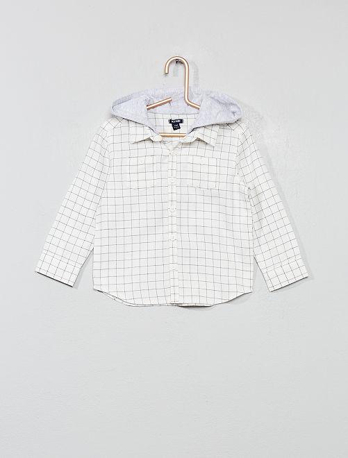 Chemise à capuche en flanelle                             blanc