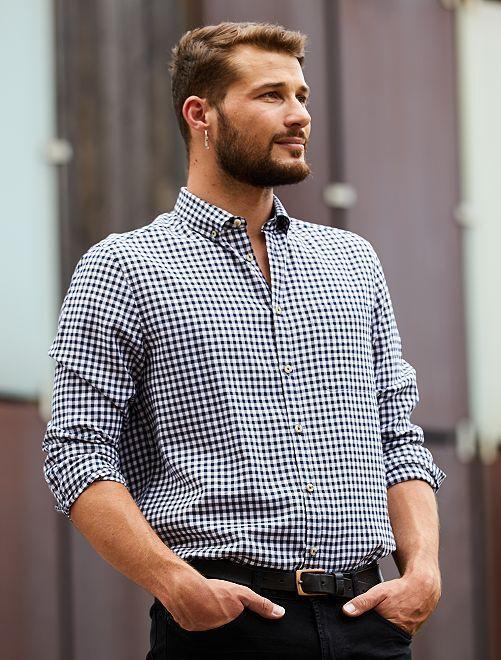 Chemise à carreaux +1m90                                         bleu marine/blanc