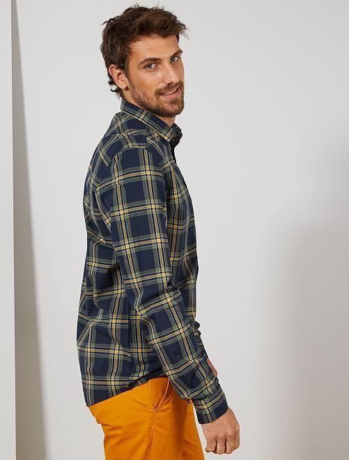 Chemise à carreaux +1m90                             bleu marine/kaki/jaune