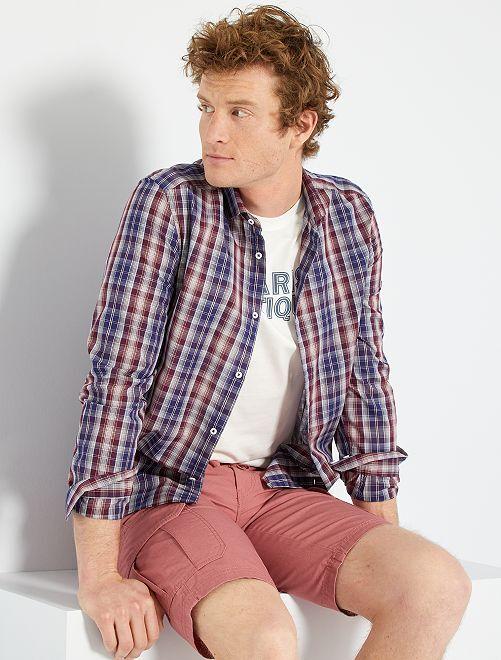 Chemise à carreaux                                                     bleu/bordeaux