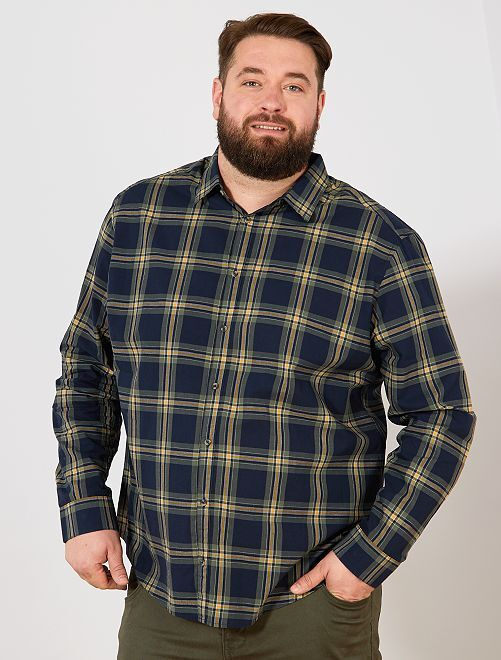 Chemise à carreaux                             bleu/kaki