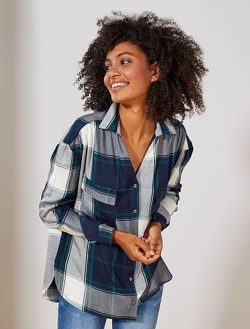 Chemise à carreaux                                         carreaux bleu / vert